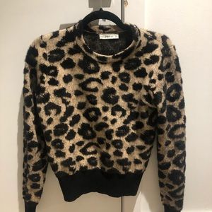 Zara Knit Leopard Print Sweater Size M cropped